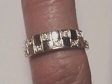 14k White Gold 10 Diamond Checkerboard Bypass Band Ring size 4.4 1.75g