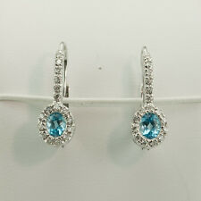 14k Oro Blanco Topacio Azul & 0.64ct. Halo Diseño Diamante EURO CABLE Pendientes