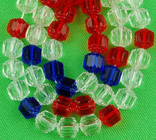 25pcs Mix Crystal Red Cobalt Cathedral Fire Polished Faceted Glass Beads 8mm