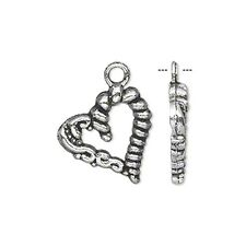 Silver Heart Charms Antiqued Fancy 18mm Jewelry 20 pcs
