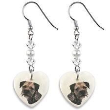 Border Terrier 925 Sterling Silver Heart Mother Of Pearl Dangle Earrings EP114