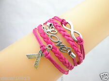 Infinity/Love/Breast Cancer Awareness Charms Braided Leather Bracelet - ROSE