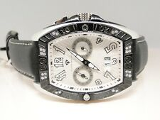 New Mens Aqua Master Joe Rodeo Black Silver Metal Diamond Watch .50 Ct