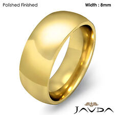 Comfort Fit Women Wedding Band Solid Ring 8mm 14k Yellow Gold 10.6gm Sz 6 - 6.75