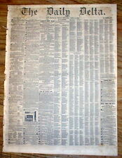 Rare original 1852 NEW ORLEANS DELTA newspaper LOUISIANA w AD for SALE of SLAVES