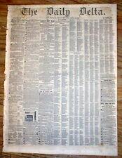 Rare original 1852 NEW ORLEANS DELTA newspaper LOUISIANA w AD for SALE of SLAVES
