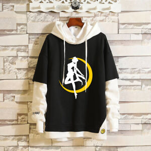 Sailor Moon Tsukino Usagi Layered Hoodie Ribbed Cuff Pullover Hooded Sweatshirt