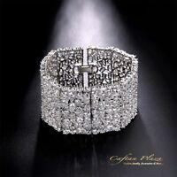 XXL Breites Armband Damen Bracelet 18K Weiss gold pl mit STELLUX™ Kristalle AAA+