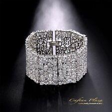 XXL LARGE BRACELET POUR FEMMES 18 Carats Or blanc Plus avec STELLUX™ cristaux