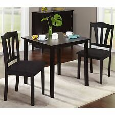 Wood Dining Set Indoor Small Kitchen Furniture 3 Piece Table Chairs Black Fabric