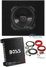 "Kenwood 10"" 1300W Car Subwoofer + Boss 1100W A/B Amplifier + Truck Sub Enclosure"