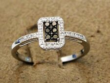 Clearance 10k White Gold Chocolate Diamond Engagement Ring Ladies  Pave