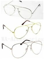 New Clear Lens Aviator Fashion Sunglasses Retro Vintage Style Metal Frame