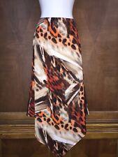 S Small New Directions Asymmetrical Hem A-Line Skirt Stretch Orange Brown White