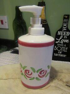 Pre-owned Art Deco Style Pink Rose Ceramic Soap/Hand Cream Dispenser