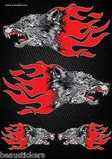 Stickers Motorcycle helmet tank Flames Wolf Format A3 2505