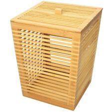 Bathroom Bin with Lid H 32cm, Made of Waterproof Bamboo