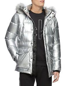 Calvin Klein Mens Parka Jacket Silver Size XL Faux-Fur Hooded Puffer $348 012