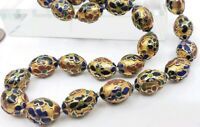 Vintage Chinese Gold Tone Cloissone Enamel Beaded Knotted Necklace