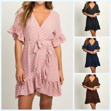 Dress Women Polka Dot Mini Chiffon Boho Sundress Ruffles Short Sleeve Summer