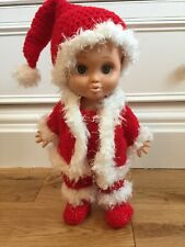 Crochet Christmas Clothing set for Baby Face Galoob -DOLL NOT INCLUDED