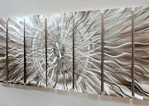 """MASSIVE 96""""×36"""" Metal Wall Art HYPER MODERN All Silver Wall Sculpture  Jon Allen"""