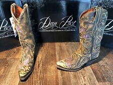 Dan Post Ladies snip toe western boot. Tan with purple butterfly/fashion heel