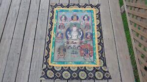 19TH CENTURY MONGOLIAN THANGKA ON SILK/HAND PRINT ON BACK/INTERNATIONAL SALE