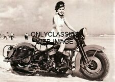 1940s SEXY GIRL RIDER BOOTS IN SKIRT HARLEY DAVIDSON V-TWIN MOTORCYCLE 5X7 PHOTO