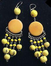 BohoCoho Quirky Lagenlook Boho Gypsy Yellow & Silver Tagua Dangle Earrings