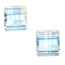 SCFX1129f BLUE SHADE 10mm Stairway Square w 2-Holes Swarovski Crystal Bead 2/pkg