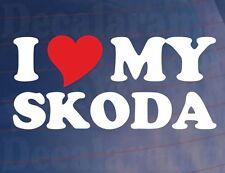 I LOVE/HEART MY SKODA Novelty Car/Window/Bumper Vinyl Sticker/Decal