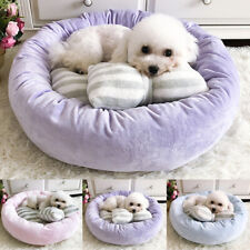 Round Ultra Soft Self Pet Cat Dog Bed with Pillow Warm Cat House Small Dog Bed