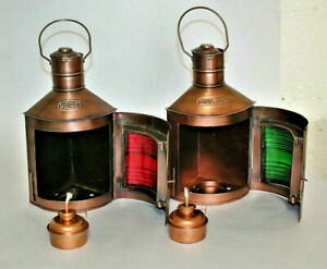 Set Of 2 Antique finish Ship Oil lamp Vintage Christmas~Home Decor oil lamps.