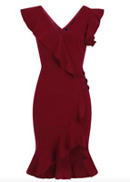 Women's New Red Wine Frill Wrap Party Evening Bodycon Pencil Dress Size 8