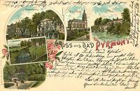 AK Bad Pyrmont 1898 (!) Litho Brunnenplatz Dunsthöhle Kirche ... / Lemgo Detmold