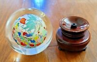 VINTAGE HAND PAINTED REVERSE ART CRYSTAL GLASS GLOBE– WOOD STAND – ARTIST SIGNED