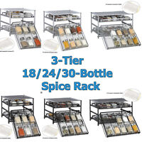3-Tier Tilt down Kitchen Storage Spice Rack Drawer 24 Pantry Cabinet Organizer