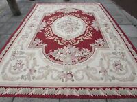 Old Hand Made French Design Wool 12x9 Red Original Aubusson 375X269cm