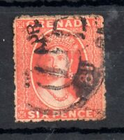 Grenada 1861 6d rose fine used SG3 no WMK WS12947