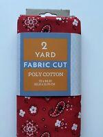 Red Bandana Fabric 2 Yards Precut Fabric PolyCotton