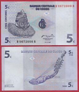 CONGO 5 CENTIMES 1997 P81 BANKNOTE UNC