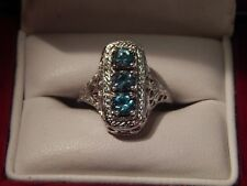 .40 Ct. Round Faceted Three Stone Blue Zircon Sterling Silver Filigree Ring