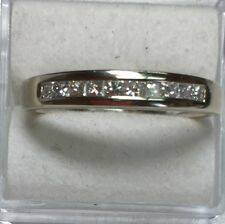 .50 ct NATURAL 10- DIAMOND princess cut band ring SOLID 14k white GOLD (4 mm)
