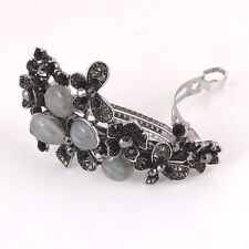 Antique rhinestone crystal butterfly hair barrette black color free shipping