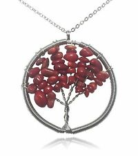 Tree of Life Red Stone and Wire Pendant Necklace