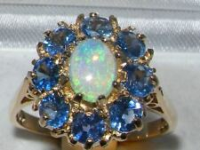 SOLID 9ct Yellow Gold Ladies Genuine Natural Opal & Blue Sapphire Cocktail Ring