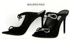 NEW BALENCIAGA BLACK SUEDE LEATHER BOUCLE-BOW MELE SANDALS HEELS SHOES C 38
