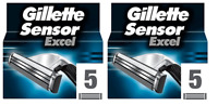 NEW Gillette Sensor Excel Refill Razor Blades - 10 Cartridges (2 x 5 Packs)