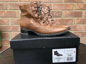 Jones Bootmaker Womens Ankle, Leather, Tan, UK 4, Brogue boots Freeflex Boxed